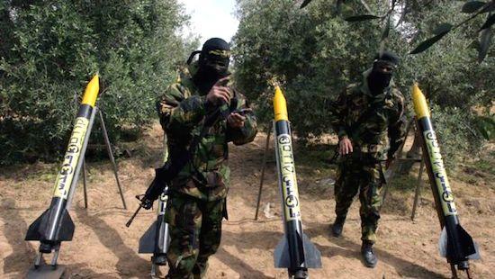 Mísseis do Hamas prestes a serem disparados contra Israel